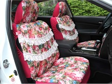 2016 auto supply 5 pcs / set four season women car seat cover cushion girls lace lovely cartoon car seat covers female style(China (Mainland))