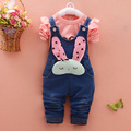 2016 New Spring Baby Girls Clothing Minnie Set Children Denim overalls jeans pants + Blouse Full Sleeve Twinset Kids Clothes Set