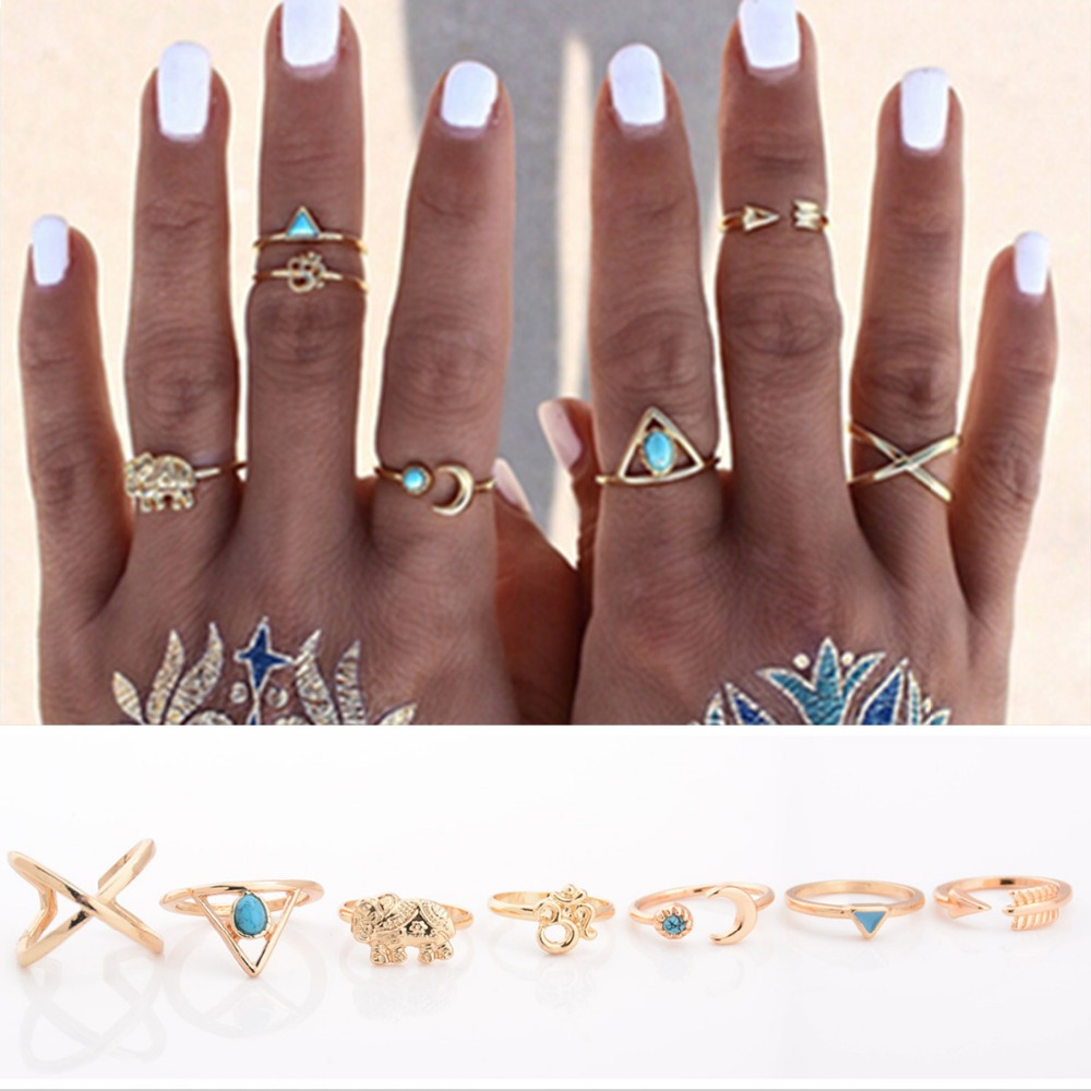 7PCS/LOT Brand Natural Stone Bohemian Midi Ring Set Vintage Steampunk Cross Moon Anillos Ring Knuckle Rings for Women Anel 2016(China (Mainland))