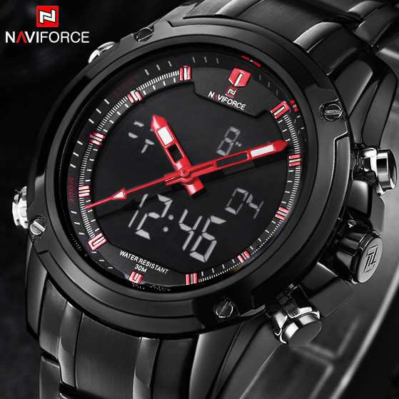 Brand NAVIFORCE Watches men luxury Full Steel Quartz Clock LED Digital Watch Army Military Sport wristwatch relogio masculino(China (Mainland))