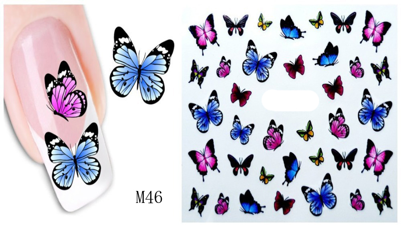 3PCS Design Water Transfer Nails Art Sticker Colorful Nail Stickers Decal DIY Nail Sticker Accessories(China (Mainland))