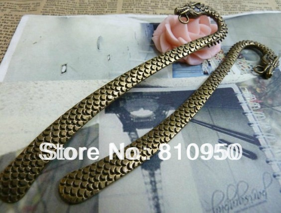 25*125mm Antique Bronze Metal/Alloy Dragon Bookmark Charm Pendant Jewelry connection Jewelry Findings Fit DIY Jewelry Accessory(China (Mainland))
