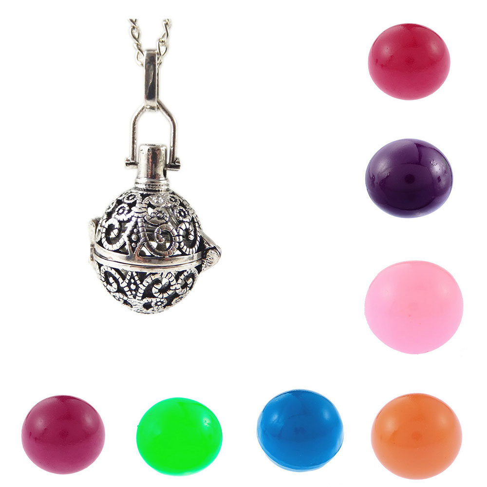 2016 New Latest Round Hollow Pendant Colorful Bola Bell Necklace Fashion Long Chain Necklace Jewelry Wishing Prayer Box Necklace(China (Mainland))