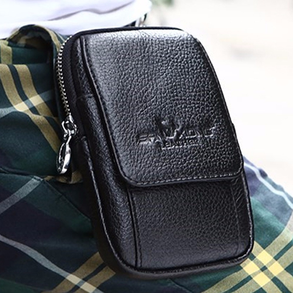 Fashion Men Genuine Leather Real Cowhide Wallet Hook Cell/Mobile Phone Case Bag Bum Hip Belt Waist Small Coin Purse Pouch New(China (Mainland))