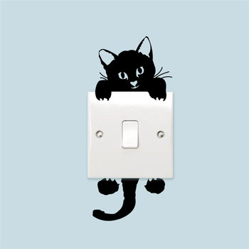 cute funny cat switch stickers 327. home decoration wall decals mural art posters vinyl diy adesivos de paredes 5.0
