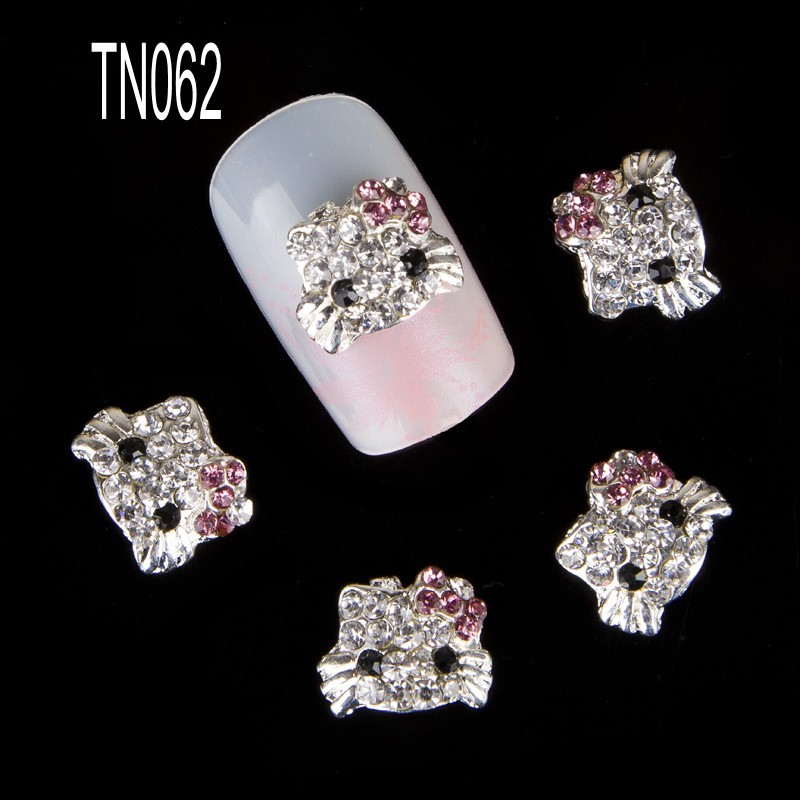 10pcs/pack Hello Kitty Shape 3D Nail Art Decorations Diamond Rhinestones Nails Art Glitter Jewelry for Nail Art Studs TN062(China (Mainland))