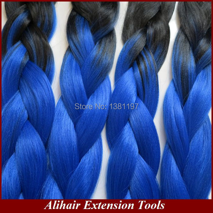 (3pieces/lot) Free Shipping 24100g Black&amp;Royal blue Ombre Two Tone Colored Xpression Kanekalon Jumbo Braiding Synthetic Hair<br><br>Aliexpress