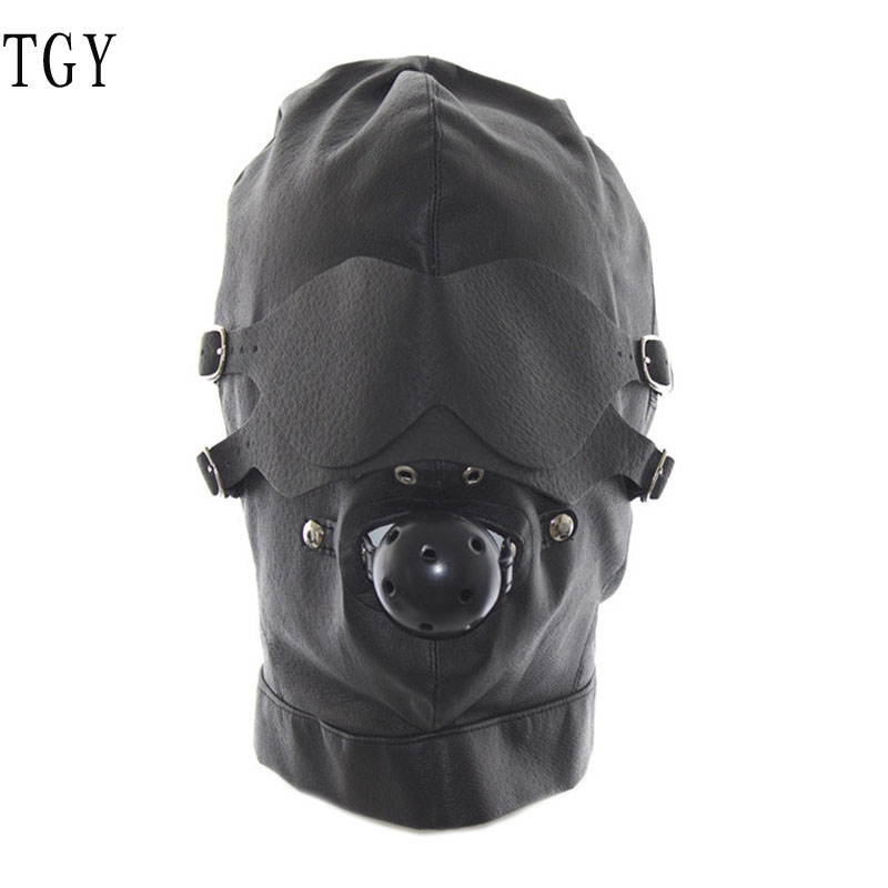 SM couple bound adult erotic headgear leather export thermon eye mask adult health supplies sex toys provocative C042<br><br>Aliexpress