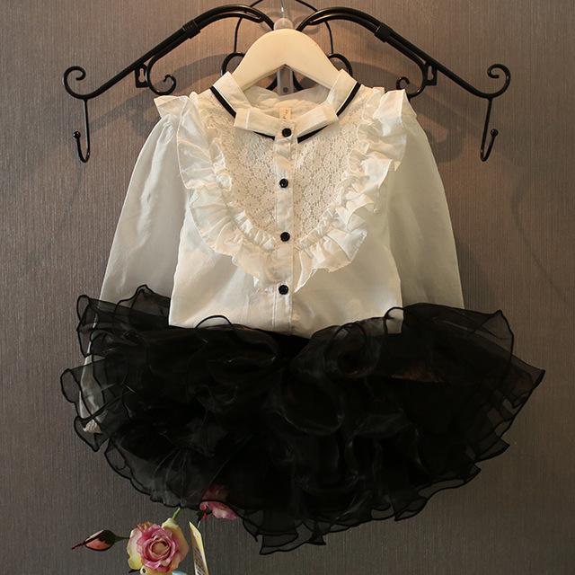 Лето осень девочки одежда комплект воротник-мандарин кружево жабо длинная рукавами рубашка + юбки дети одежда