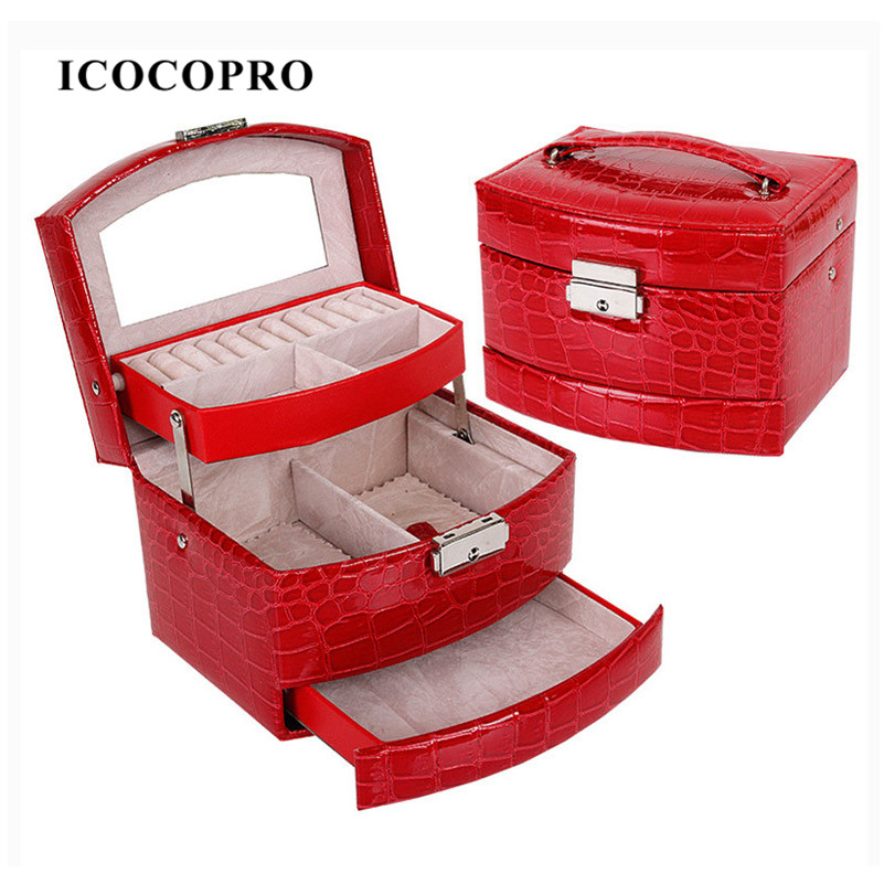 Jewelry Box Lockable Necklace Earring Ring Holder Carrying Case Gift Box Travel Jewelry Display Case Jewelry Organizer Box Stand(China (Mainland))