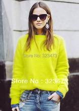 European Star Designer New 2015 Fashion Neon Green/Blue/Rose Angora rabbit fur Causal Pullover Sweaters for Women,free shipping(China (Mainland))