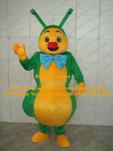 Cute Green Ant Bug Mascot Costume Mascotte Grasshopper Cricket Grig Locust With Big Blue Bow Tie Yellow Belly No.1240 Free Ship(China (Mainland))
