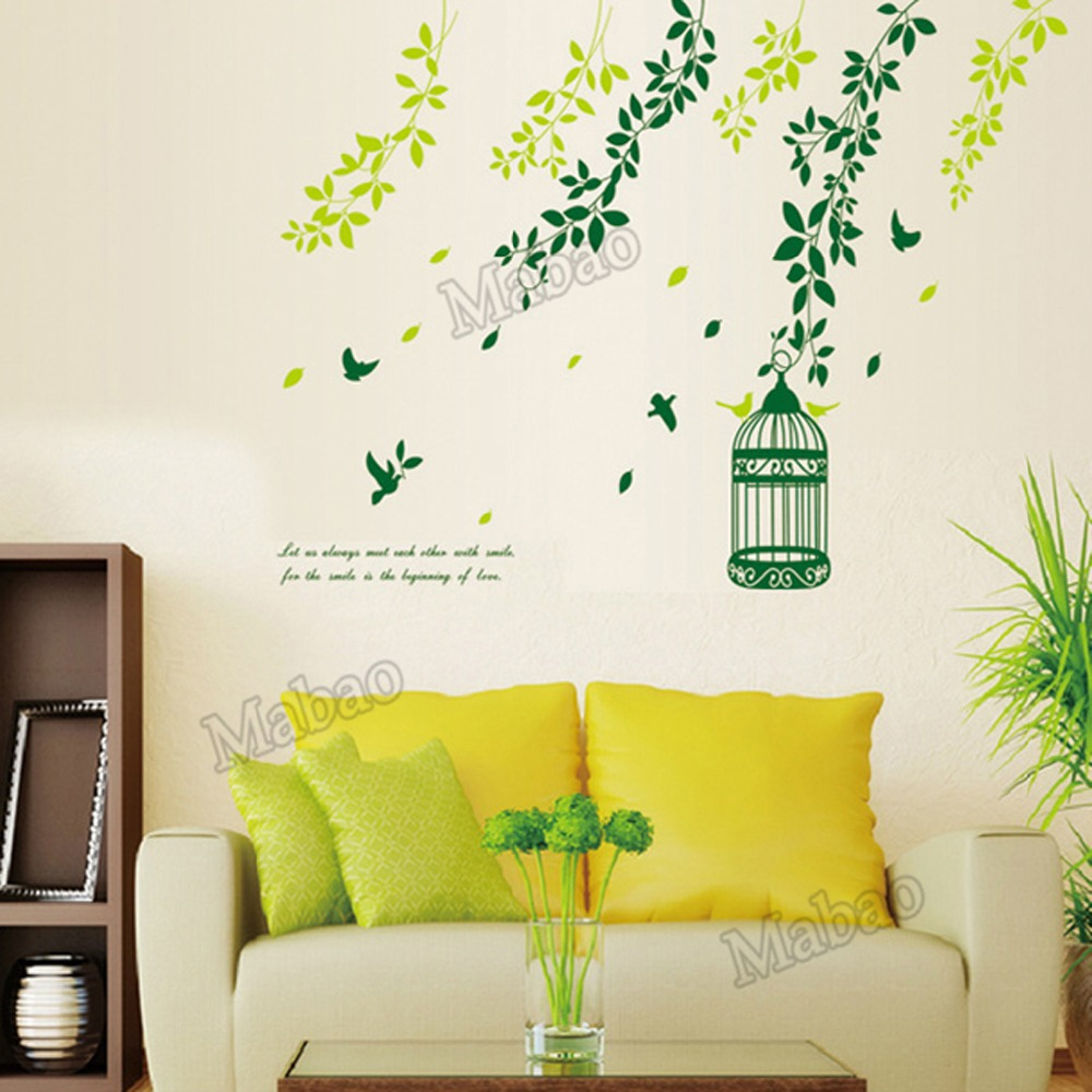 Mabao bird cage branch wall stickers home decor curtains for Bird wallpaper home decor