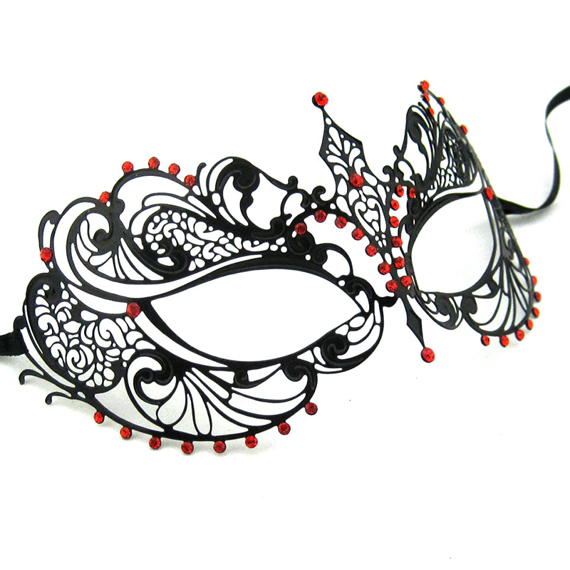 Masquerade ball Cosplay Black environmental Metal Fancy Unique design Mask Women Crown Pattern Cutout Eye Mask MA001-RBK(China (Mainland))