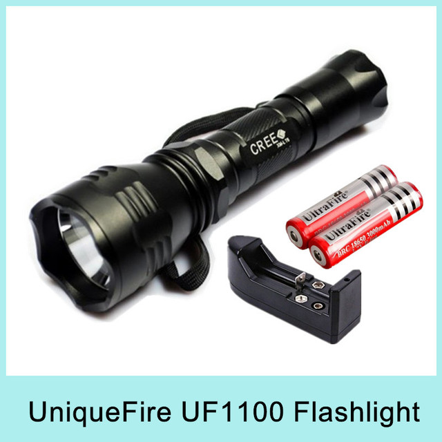 UniqueFire UF-1100 Cree XM-L T6 5 Modes LED Flashlight Torch Lamp Light Waterproof 1000Lumens SOS + 2x18650 Battery + Charger