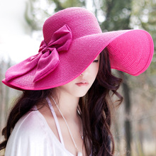 New Fashion Sun Hats For Women With String Wide Brim Hat Floppy Straw Hats Women Bow Bowknot Foldable Chapeau de Paille(China (Mainland))