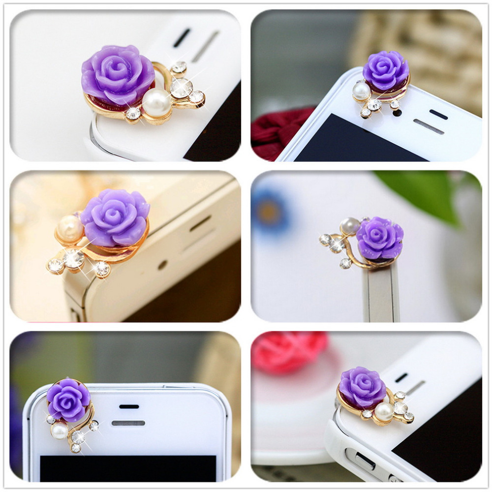 1pcs Rose Flower 3D Crystal Bead Pearl Anti Dust Plug Charms For 3.5mm Phone For Apple4 4S 5 For Samsung Galaxy S3 S4 For HTC(China (Mainland))