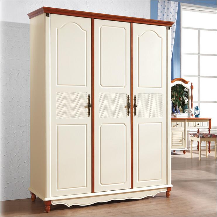 American country style wood wardrobe closet bedroom furniture three doors large storage closet p10253(China (Mainland))