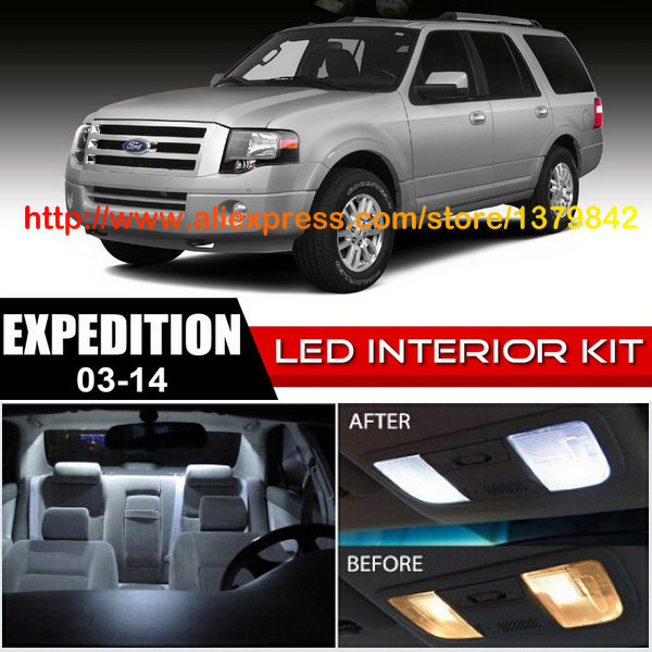 Free Shipping 16Pcs/Lot 12v Xenon White/Blue Package Kit LED Interior Lights For 03-14 Ford Expedition(China (Mainland))