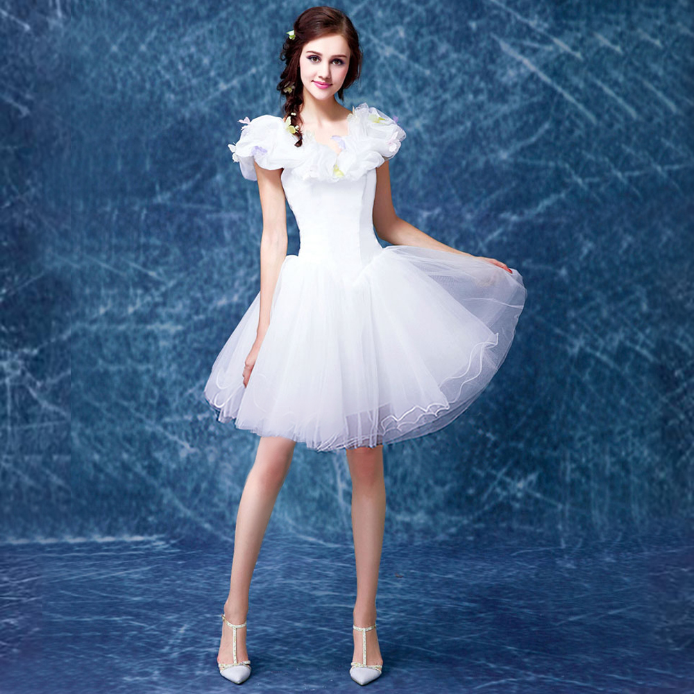 Short organza wedding dress 2016 cute oragnza Butterfly pattern v neck ball gown knee length bridal dress plus size 8302(China (Mainland))