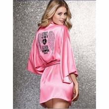 2015 Summer Style Bathrobe Women Robes For Women Peach Pink Angel Wings Hot Diamond Robe Kimono Sexy Silk Robe Short Robes(China (Mainland))