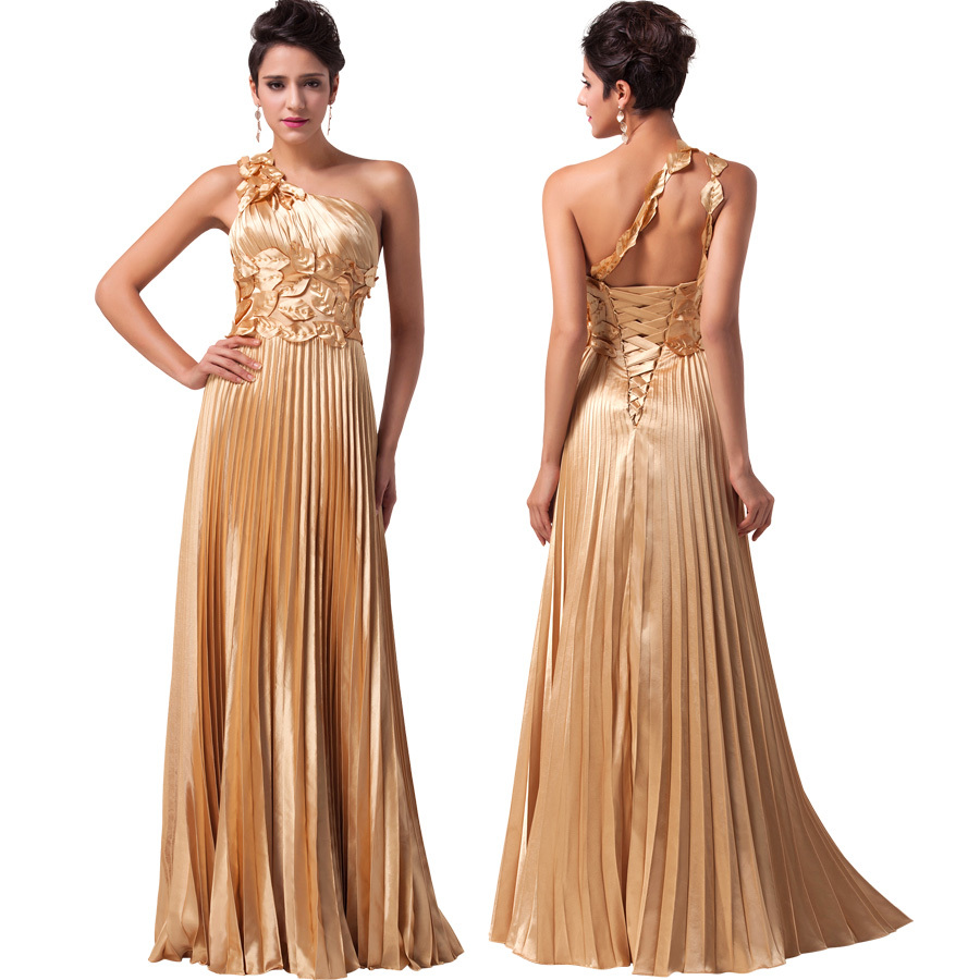 One Shoulder Satin Gold Evening Dress Sexy Long Party Prom