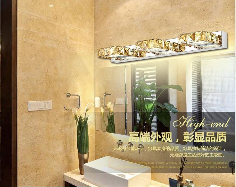 Здесь можно купить  Free Shipping 9W 46cm long led wall light in bathroom Square Crystal Sconce Lamps Surface 3-lights Waterproof IC Driver   Свет и освещение