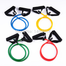 2015 Hot Fitness Resistance Bands 5 color Resistance Rope Tubes Elastic Exercise Bands for Yoga Pilates Workout Free shipping