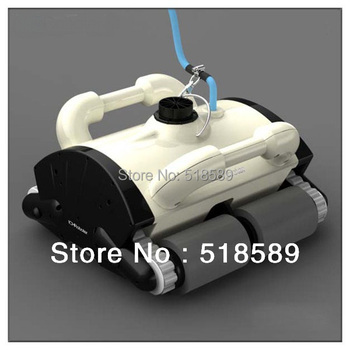 Wall climbing and Pool Bottom Brushing Robotic Swimming Pool Cleaner+15m Cable,Working Area:100m2-200m2