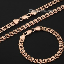 18-36inch Elegant Womens Mens Chain Cut Snail Rose Gold Filled Set Necklace Bracelet  Jewelry Set Wholesale Gift DLGS63(China (Mainland))