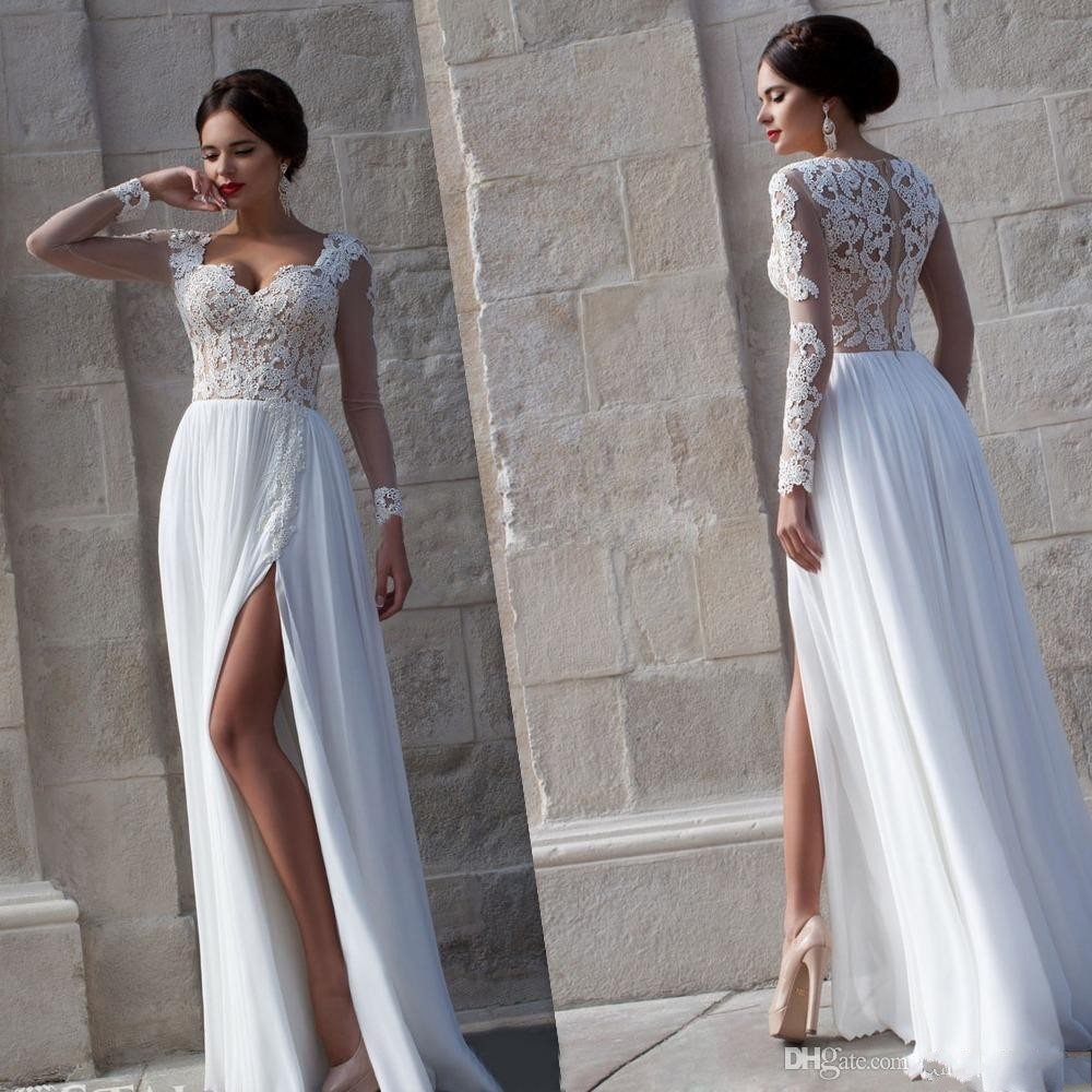 2015 New Style Elegant Wedding Dress Long Sleeve Lace Chiffon Bridal Gowns Sexy High Slit Appliqued Bride Dresses(China (Mainland))