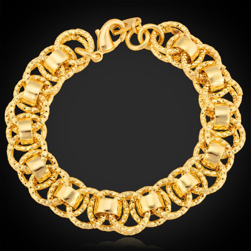 Gold Bracelets For Women Men Jewelry '18K' Stamp Platinum / 18K Real Gold Plated 13MM 21CM Hot Fashion Bracelets & Bangles H368(China (Mainland))