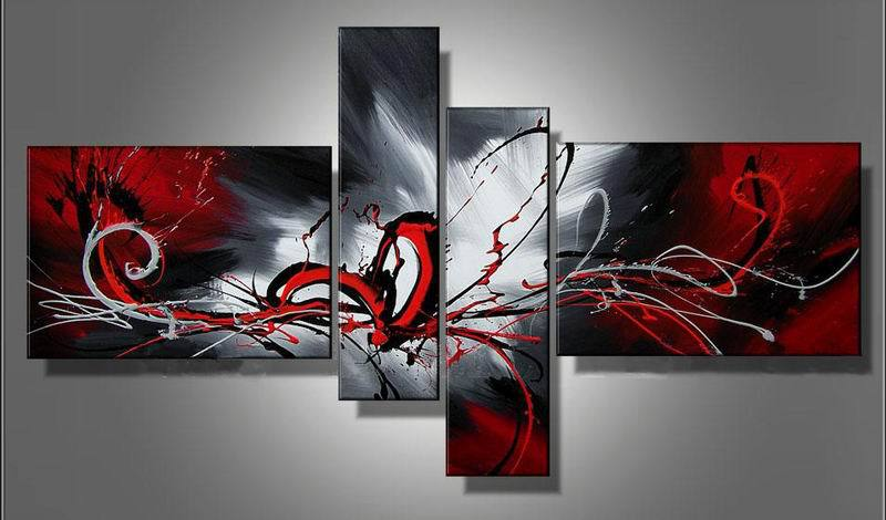 oil paintings on canvas red black white home decoration Modern abstract Oil Painting wall DY-134(China (Mainland))