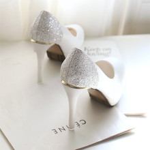 2016 Korean women shoe heels with ultra fine high-heeled waterproof Taiwan round sequins sets foot white wedding shoes