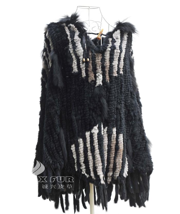 CX-B-110B/S Large Knit Rabbit Fur Hooded Poncho Scarf Wraps Shawl ~ DROP SHIPPING(China (Mainland))