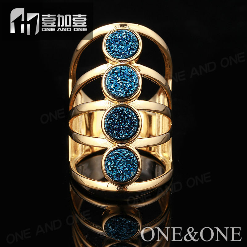 2015 Fashion Blue Druzy Drusy Rings for Woman Nature Druzy Agate Ring(China (Mainland))