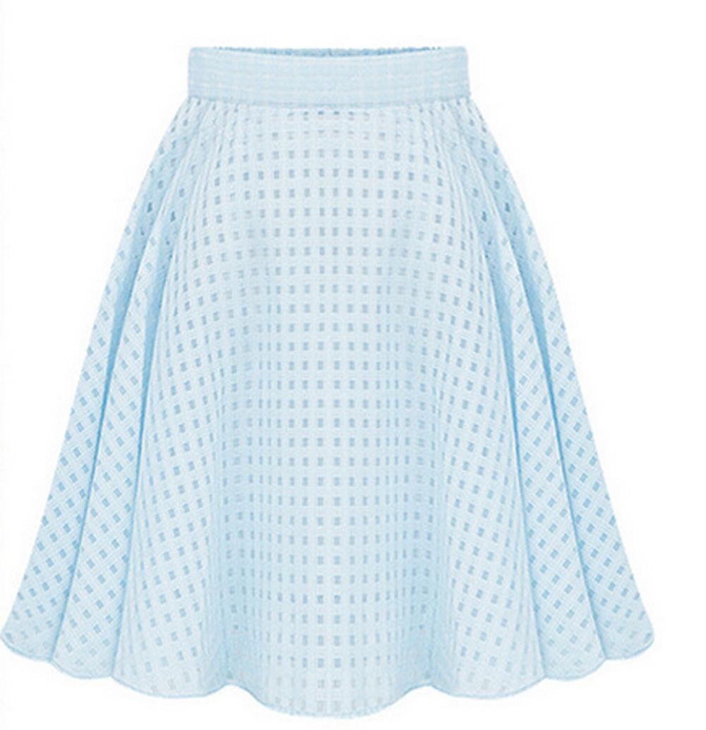 Women Summer Casual Long Skirt High Waist Pleated font b Plaid b font Skirts Womens Tutu