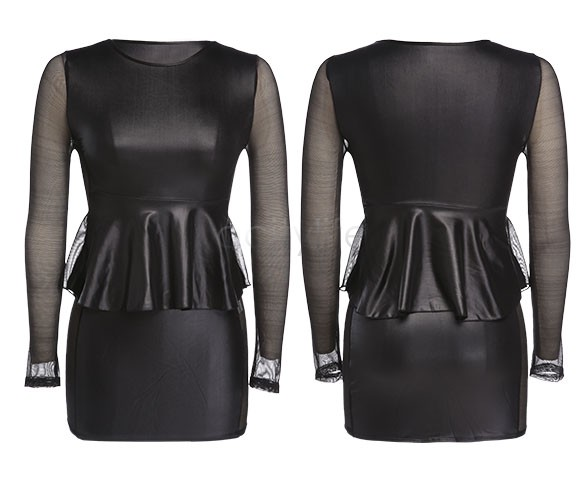 Free Shipping Sexy Long Sleeve Mesh Black Faux Leather Pvc Dress 34(China (Mainland))