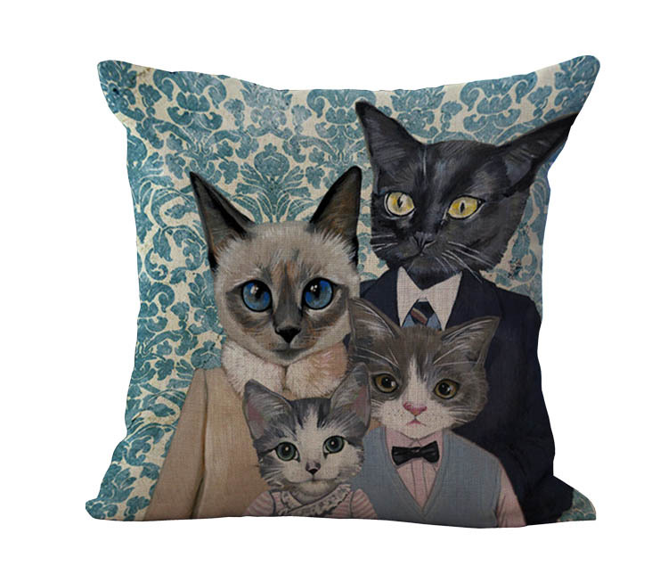 Free Shipping Wholesale 100% New Cotton Linen Modern Cartoon Cats Cushion Pillow on sofa for ...