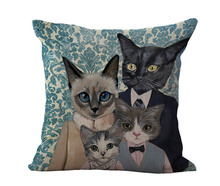 Free Shipping Wholesale 100% New Cotton Linen Modern Cartoon Cats Cushion Pillow on sofa for home decoration(China (Mainland))