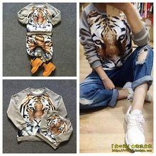 children  3d tiger pattern  kids fleece sweatshirt trousers cllothing sets  family wears mini rodini clothing sets kikikids