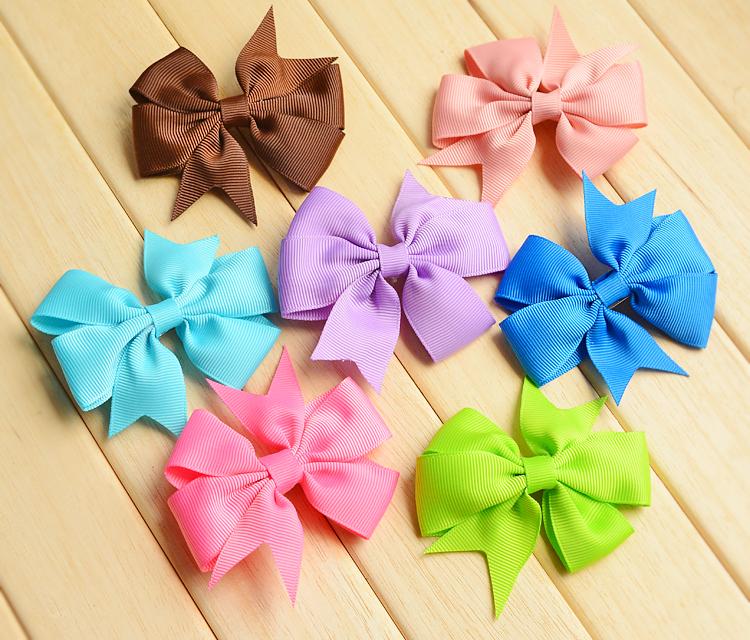 Fashion 3 inch Baby Girl Hair Bows Clips Boutique Hair Pin Grosgrain Ribbon Bows Hairpins Kids Headwear Accessories 50511002(China (Mainland))