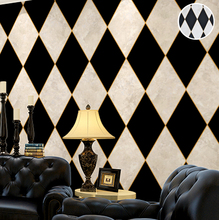 Black and White Diamond Chequered or Checkered Wallpaper Vinyl Marble Rhombus Wall Paper Covering For Living Room Bedroom