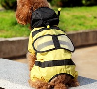 Free Shipping Bees pet raincoat, Small four leg dog raincoat, Pet poncho, Super waterproof dog clothing, Yellow 10#/12#/14#/16#