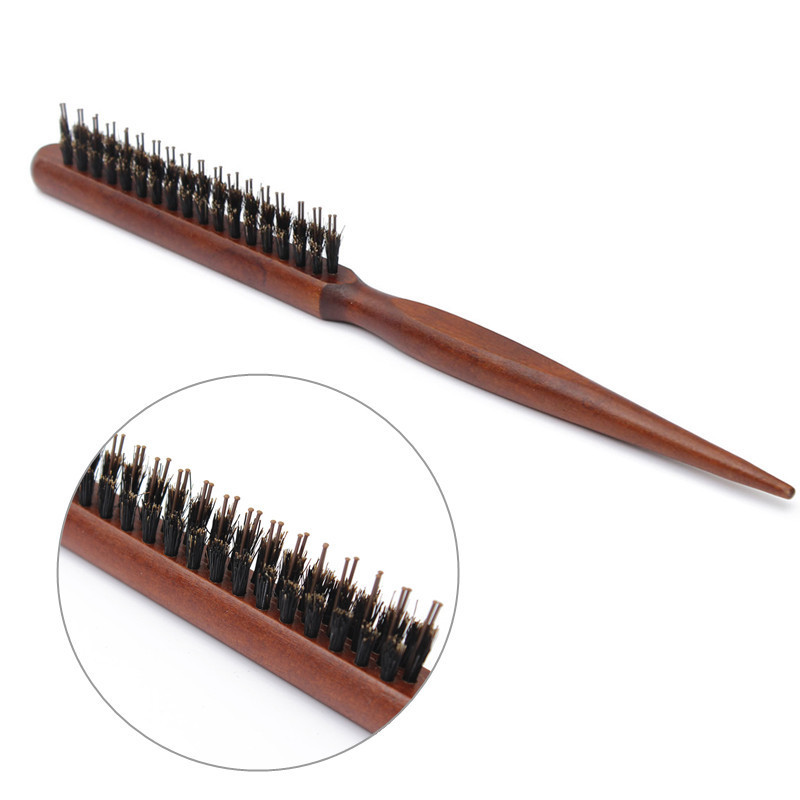 Brand New High Quality Wood Handle Natural Boar Bristle Hair Brush Fluffy Comb Hairdressing Barber Tool(China (Mainland))