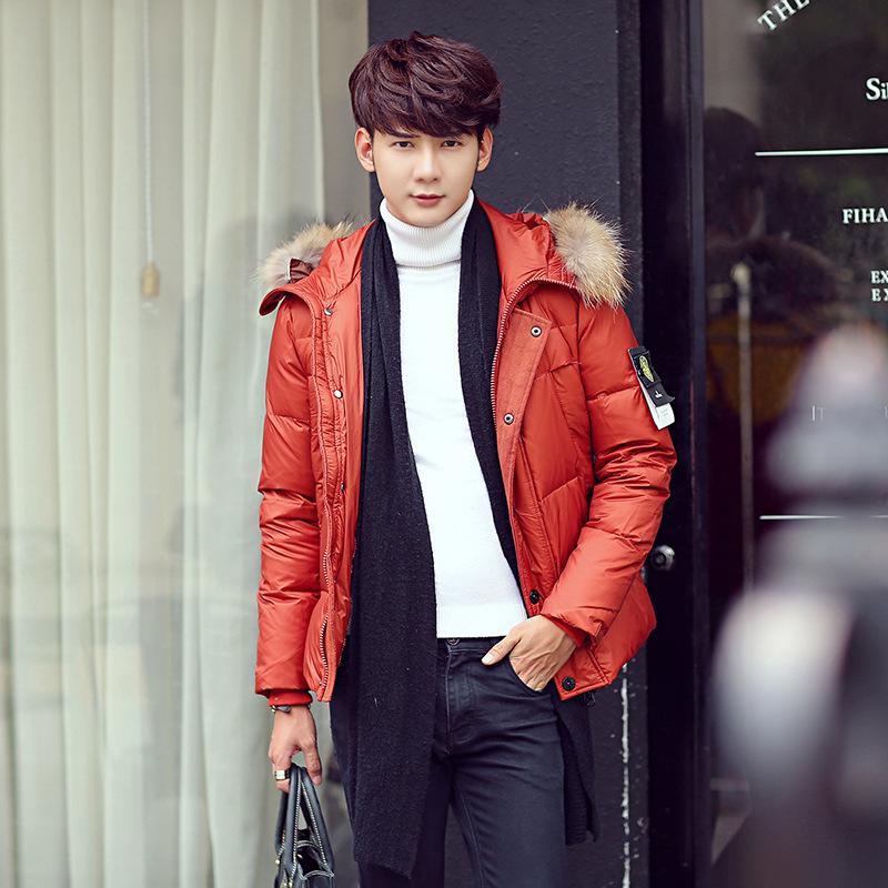 Скидки на Корейских мужчин с капюшоном пуховик Надьямарош воротник верхней одежды Ветровка Ветрозащитный теплые Куртки Вниз Пальто куртка Плюс размер