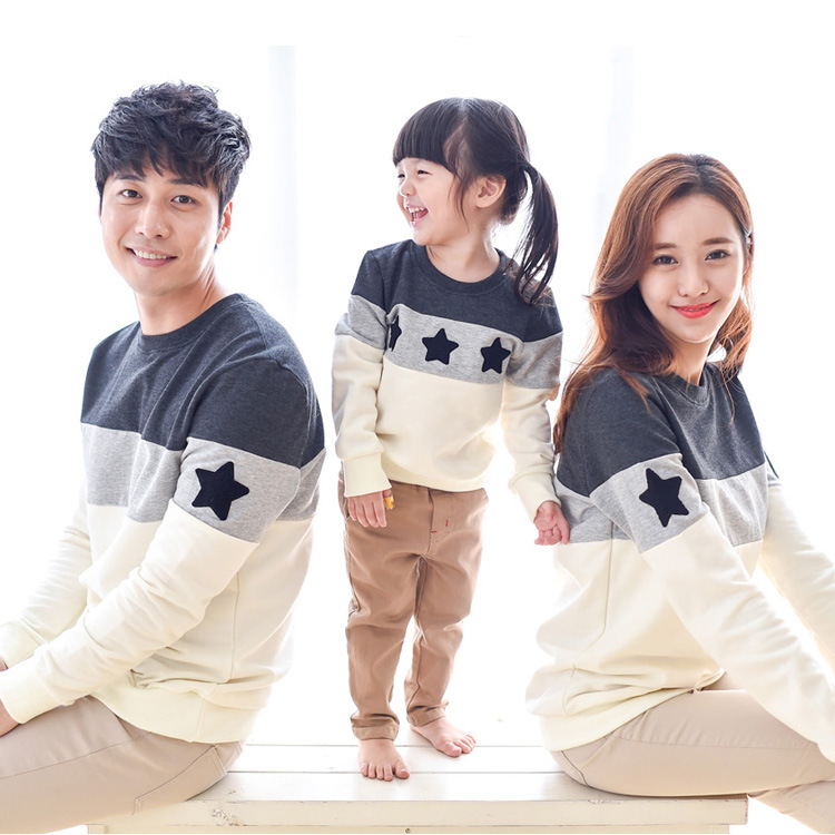 2016 New Spring Stars Embroidery patchwork design Family style T-shirt Striped Family Matching Outfits hoodies(China (Mainland))