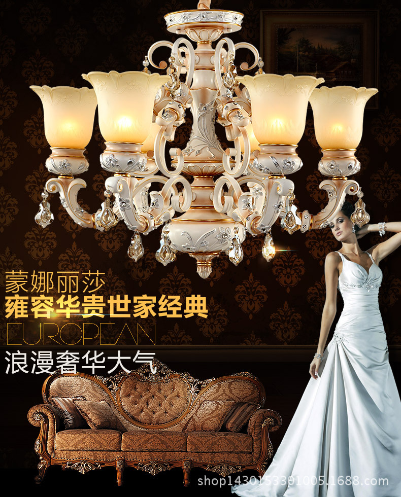 New European Vintage Painting Resin Chandelier classical 6/8 lights resin wrought Iron chandelier modern chandelier(China (Mainland))