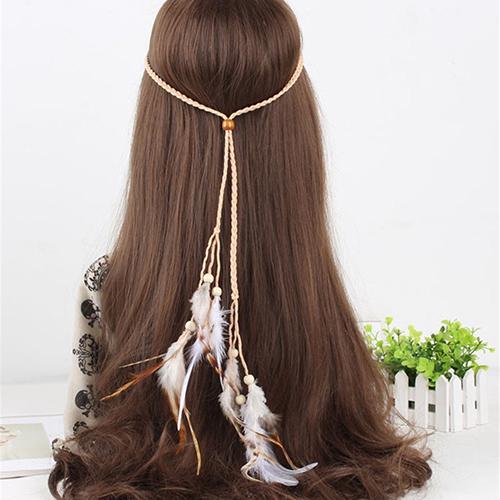 Women Fashion Bohemian Handmede Feather Headband Hippie Braided Hair Accessories(China (Mainland))