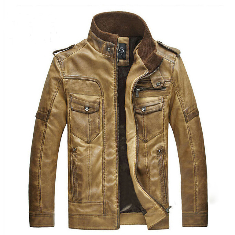 2014 new men's winter genuine leather fur jacket,men famous brand sheepskin Motorcycle coat men size XXL - 2015 shop store